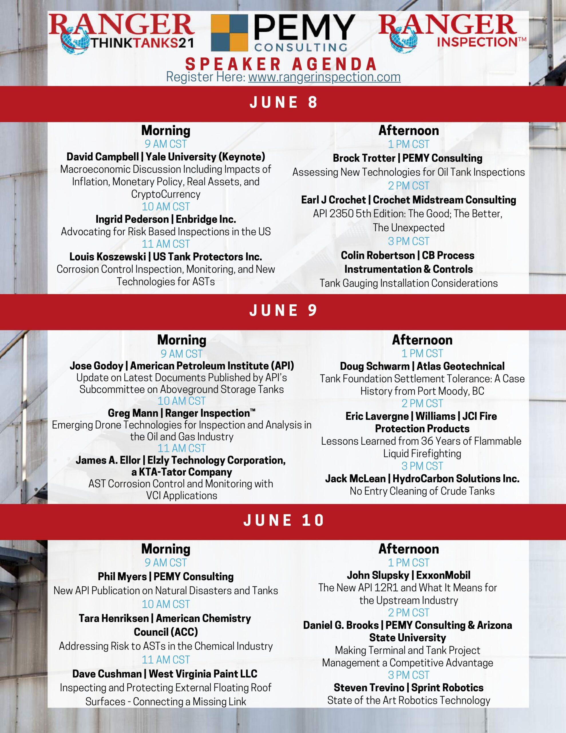 Think Tanks 21 Speaker Agenda